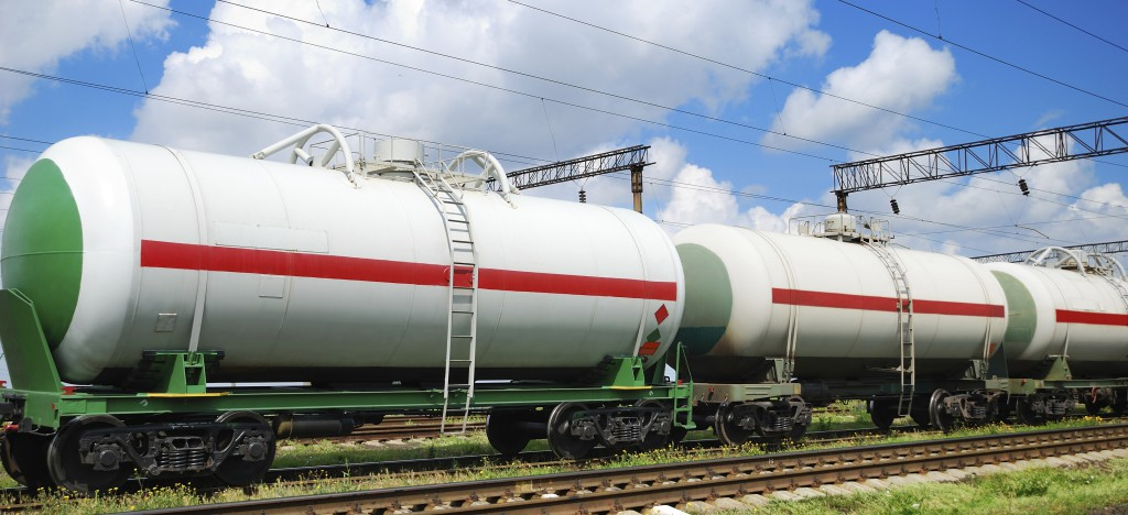 railroad transportation tank cars with oil